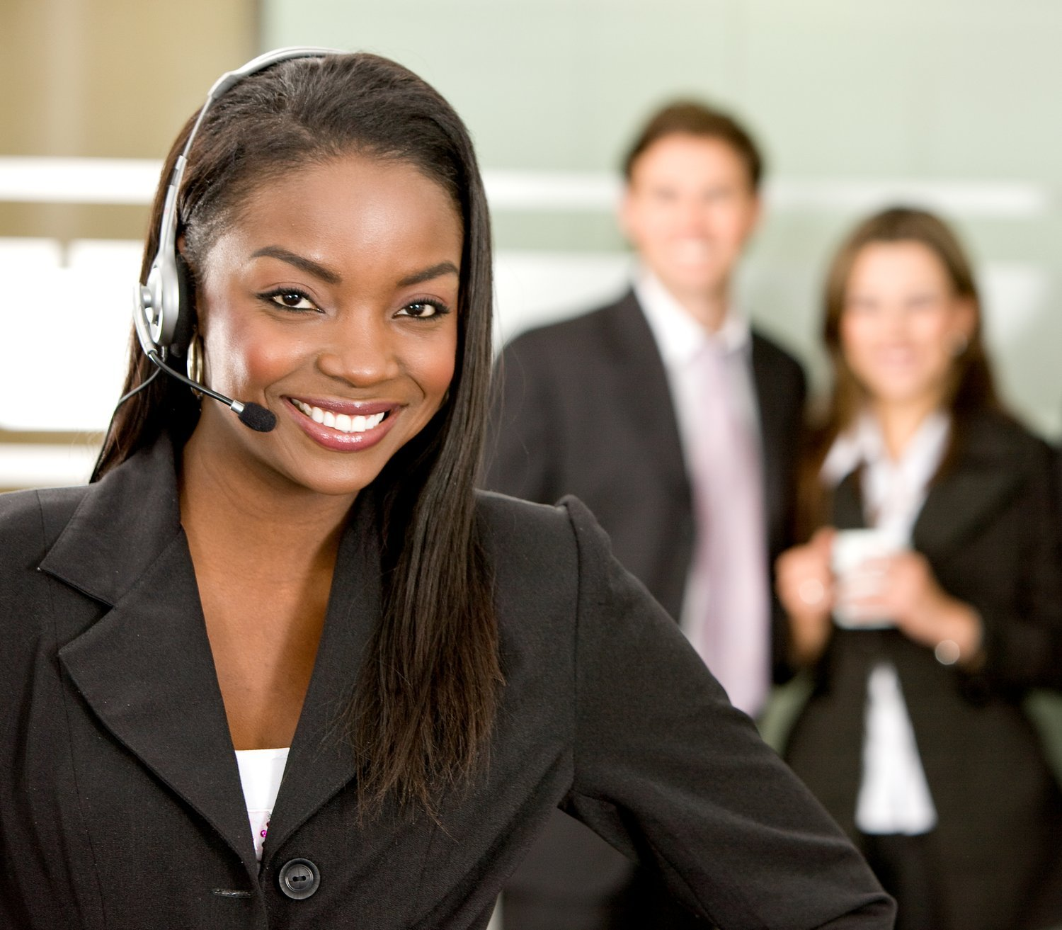 business customer support operator woman smiling in an office